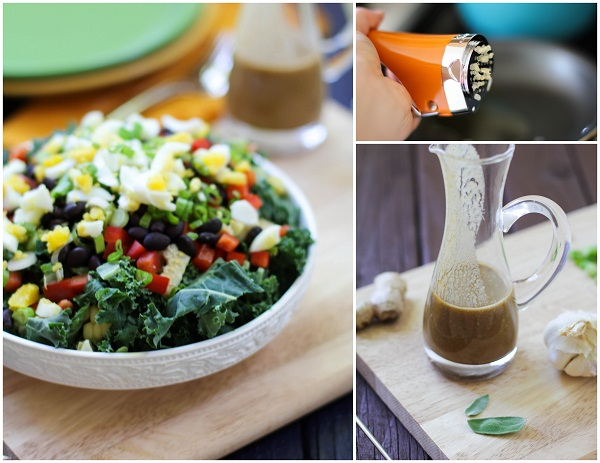 Southwest Kale Salad with Cumin Ginger Sage Dressing