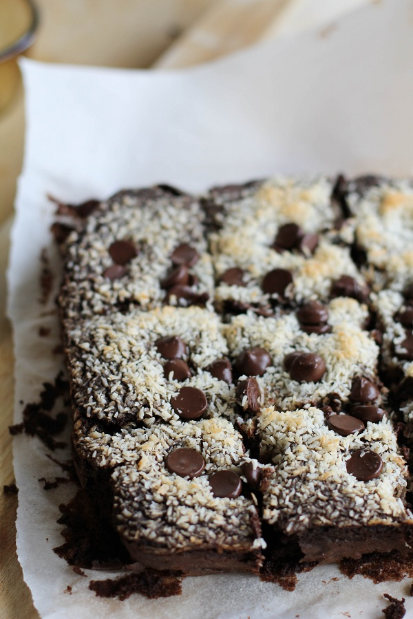 Black Bean Brownies with dark chocolate chips and coconut. Gluten Free!