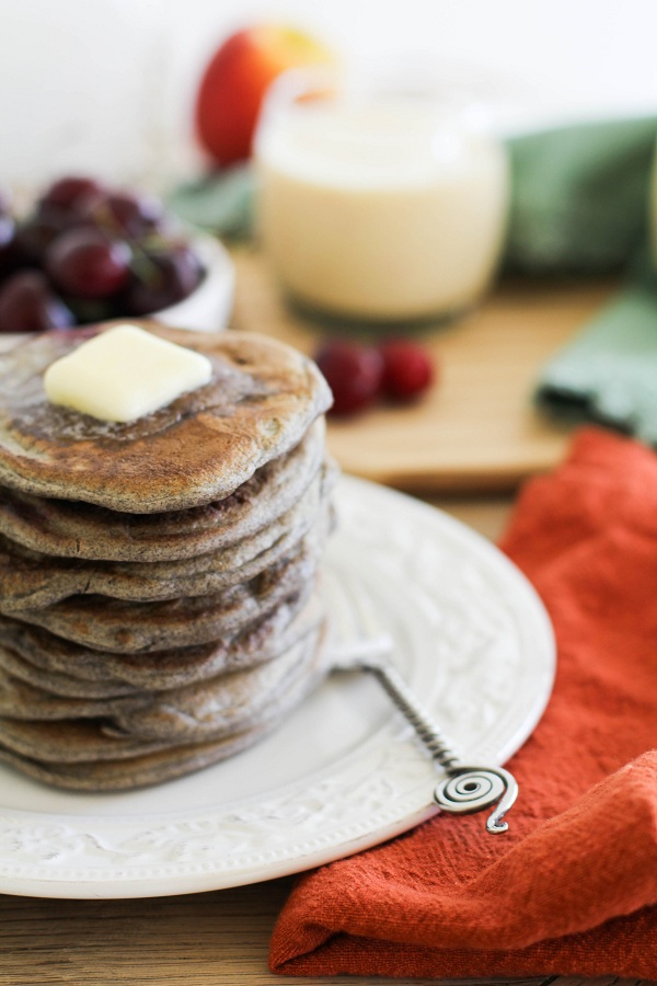 Buckwheat Sourdough Pancakes with cherries | http://www.theroastedroot.net