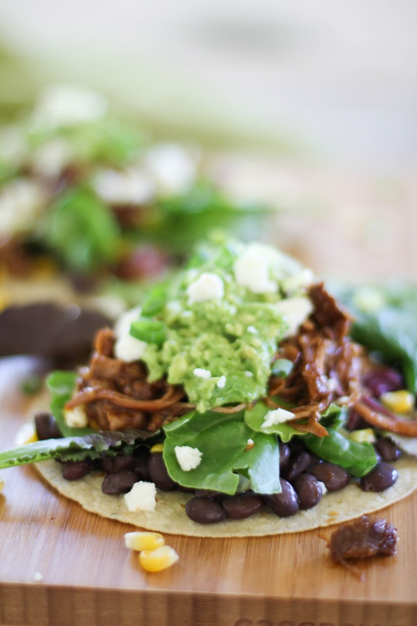 Barbecue Pulled Turkey Tostadas | http://www.theroastedroot.net