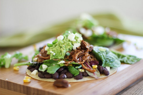 Barbecue Pulled Turkey Tostadas | https://www.theroastedroot.net