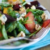 Roasted Beet Salad with peaches, pluots and blue cheese | http://www.theroastedroot,net
