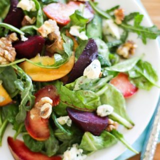 Roasted Beet Salad with peaches, pluots and blue cheese   https://www.theroastedroot.net