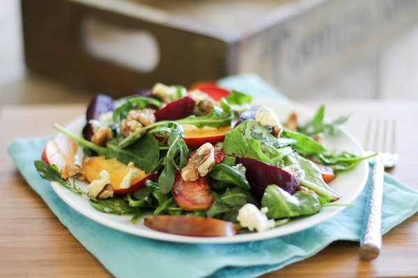 Roasted Beet Salad with peaches, pluots and blue cheese | https://www.theroastedroot.net