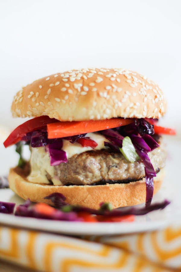 Thai Turkey Burgers with curry yogurt sauce | http://www.theroastedroot.net