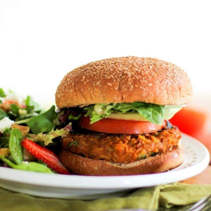 Sweet Potato Veggie Burgers | TheRoastedRoot.net #healthy #recipe #vegetarian
