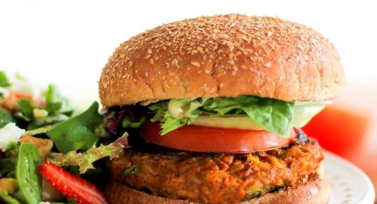 Sweet Potato Veggie Burgers   TheRoastedRoot.net #healthy #recipe #vegetarian