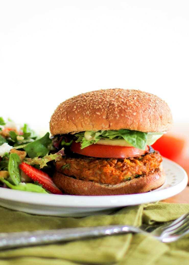 Sweet Potato Veggie Burgers | TheRoastedRoot.net #healthy #recipe #vegetarian