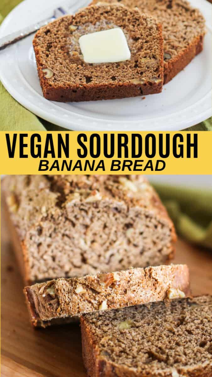 Vegan Sourdough Banana Bread made with gluten-free flour and coconut sugar