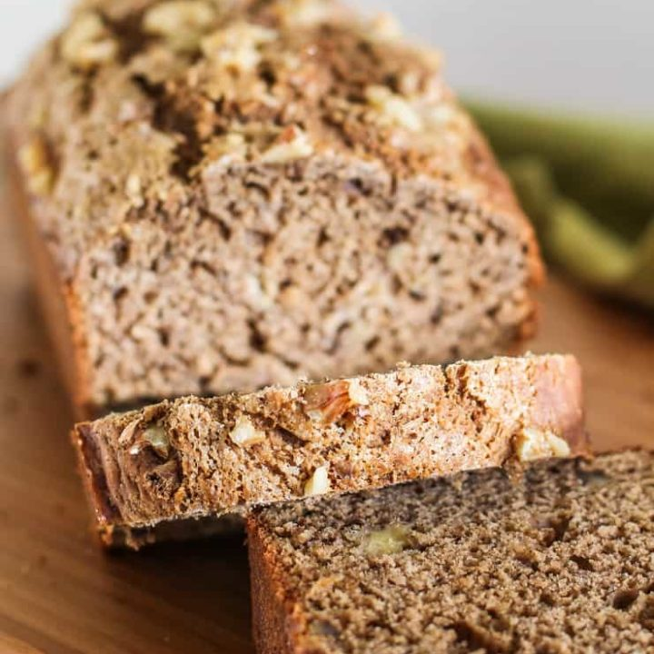 Vegan Sourdough Banana Bread made with gluten-free flour and coconut sugar