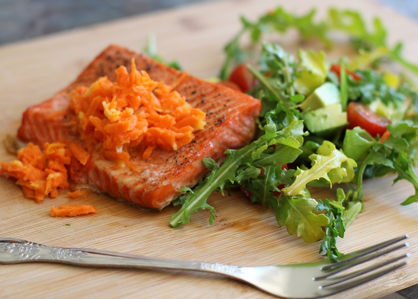 Crispy Salmon with Carrot-Ginger Relish | https://www.theroastedroot.net