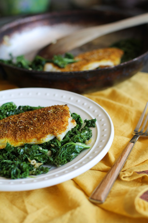 Curry-Spiced Sole with Garlic Sautéed Kale | http://www.theroastedroot.net