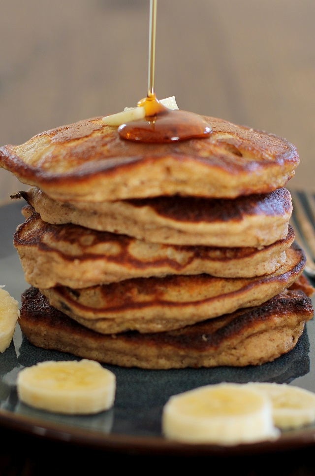 Gluten Free Banana Bread Pancakes made with almond flour | theroastedroot.net #healthy #brunch #recipe #breakfast