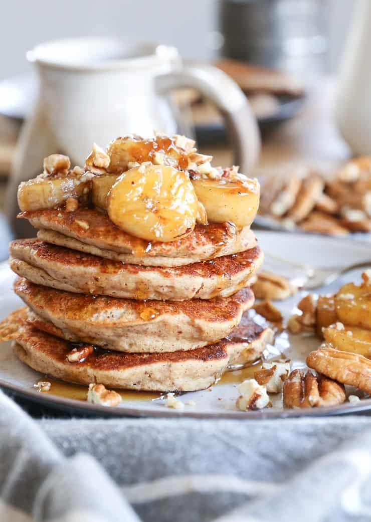 Gluten-Free Banana Bread Almond Flour Pancakes - dairy-free, healthy, delicious