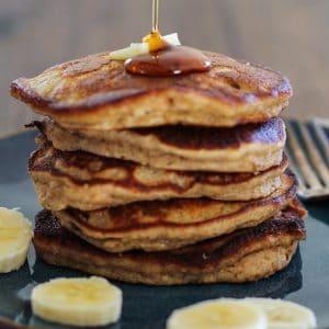 Banana Bread Almond Flour Pancakes | https://www.theroastedroot.net #glutenfree #breakfast #healthy