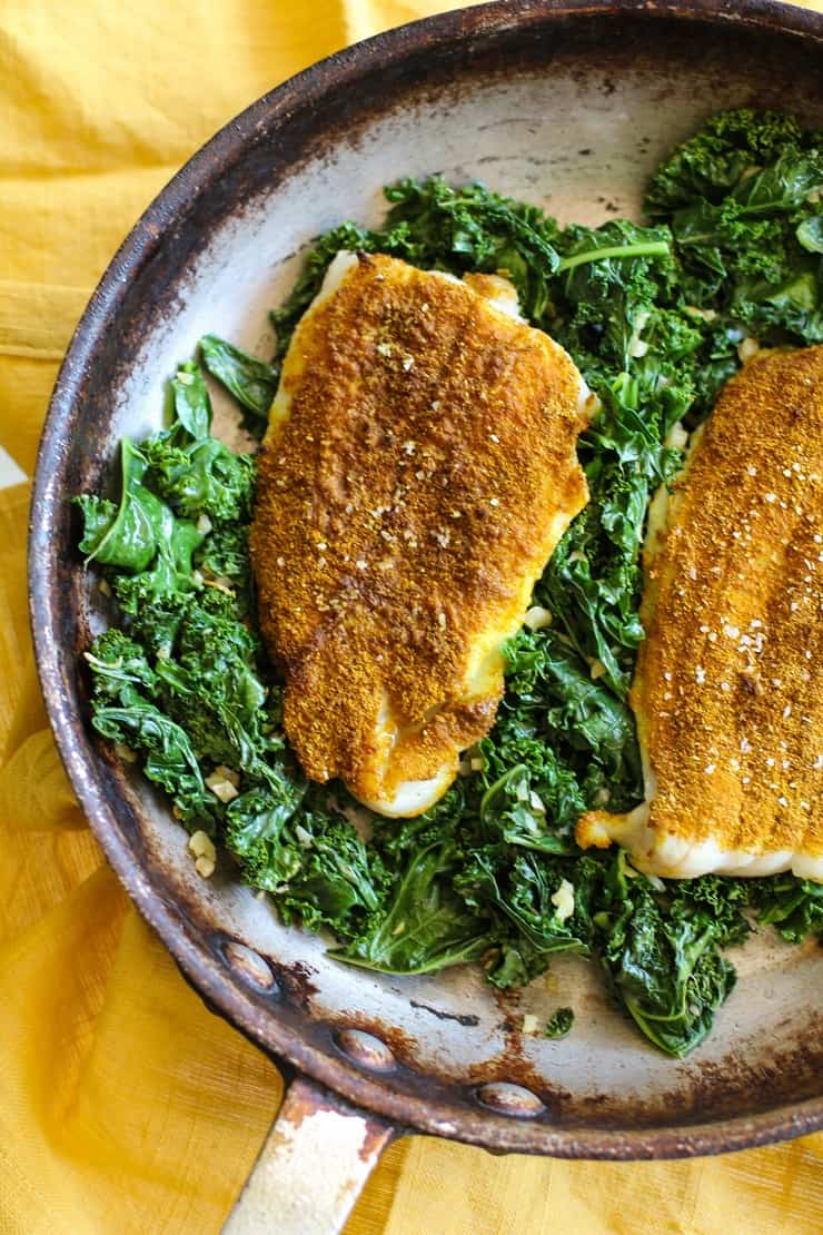 Curry Spiced Sole with Sauteed Kale