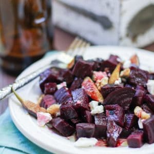 Roasted Beet and Fig Salad with walnuts, goat cheese, and balsamic vinaigrette