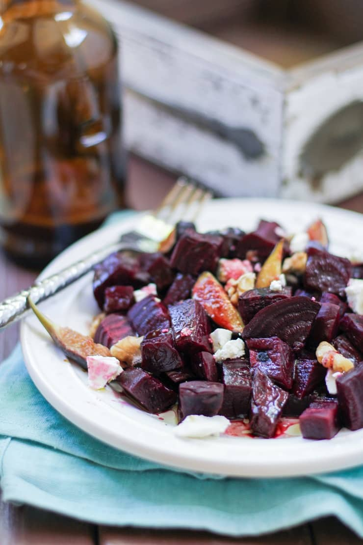 Roasted Beet and Fig Salad with walnuts, goat cheese, and blackberry balsamic vinaigrette