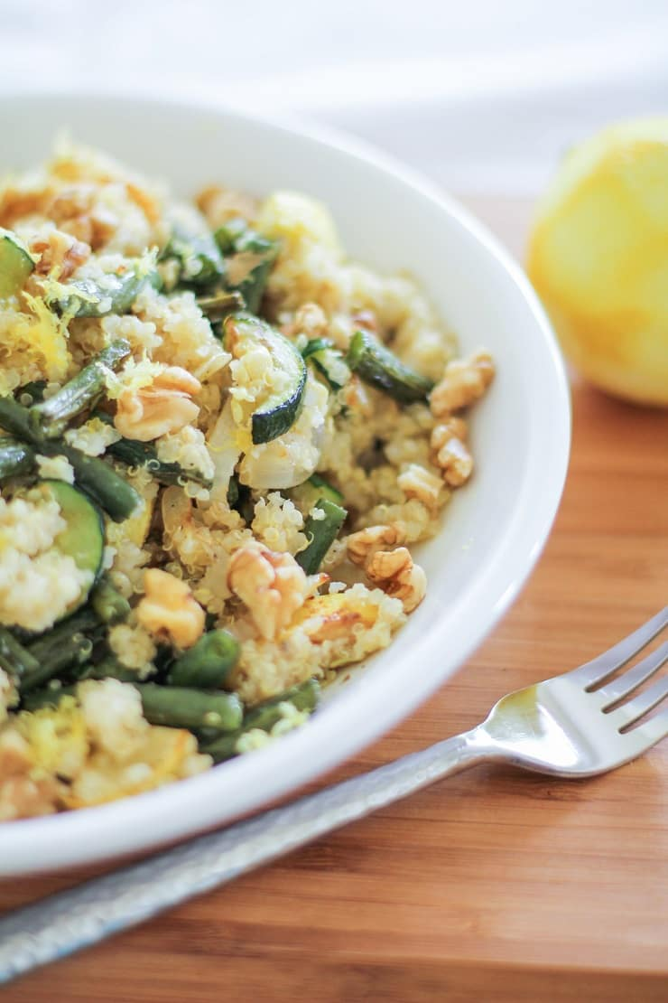 Roasted Summer Vegetable Quinoa Salad with walnuts, feta, and citrus dressing
