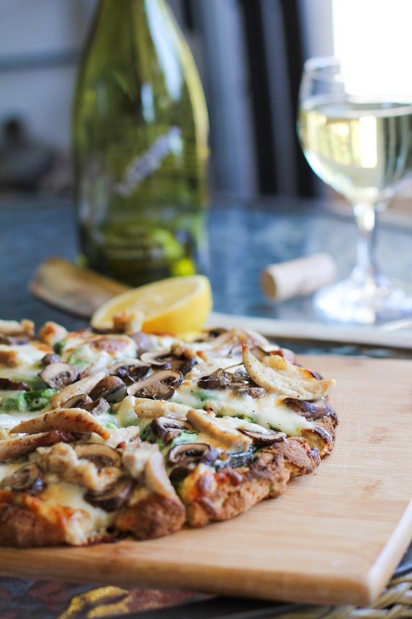 Roasted Chicken & Mushroom Pesto Pizza | https://www.theroastedroot.net #glutenfree
