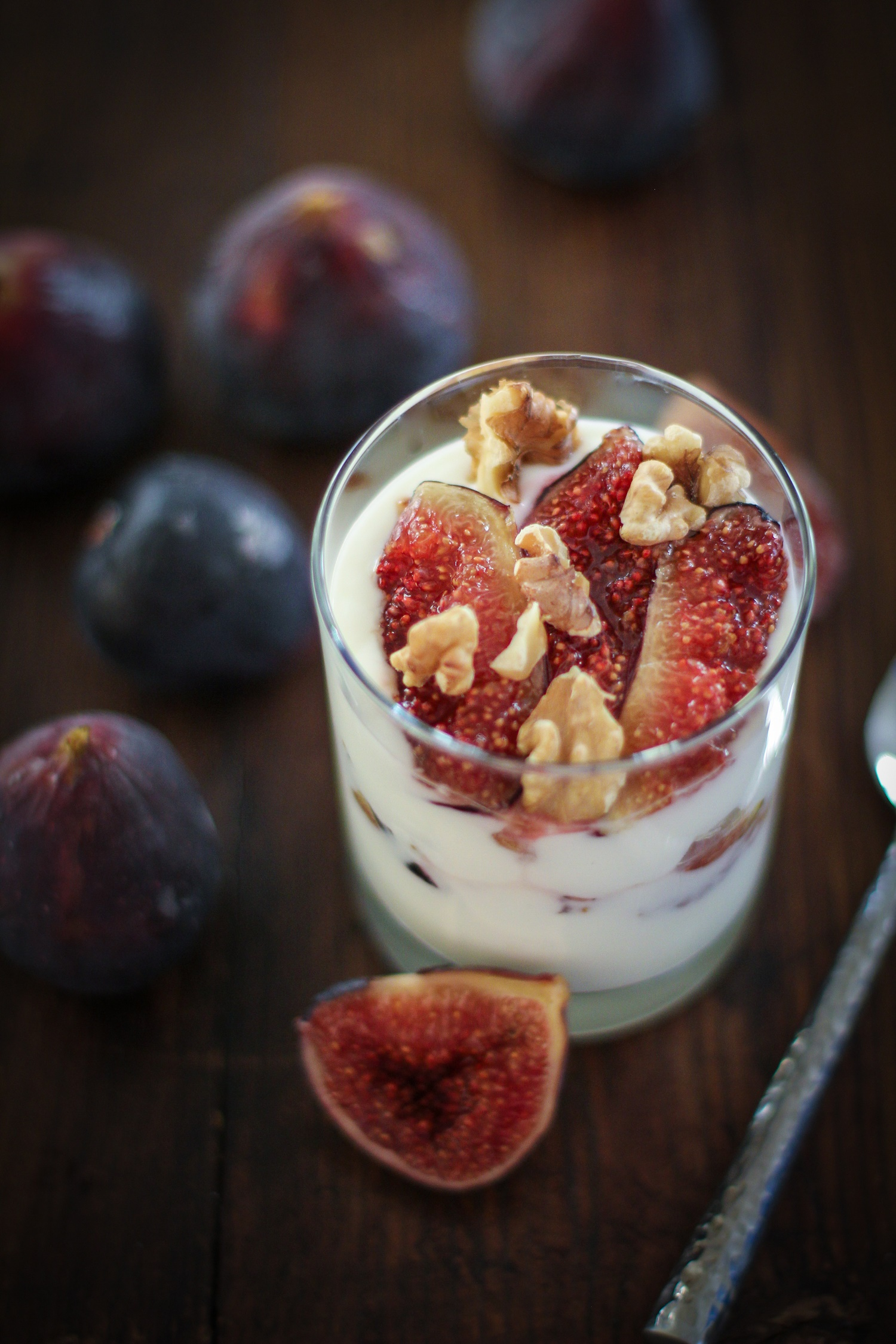 Roasted Fig and Walnut Yogurt Breakfast Parfait with honey | TheRoastedRoot.net #healthy #recipe #glutenfree