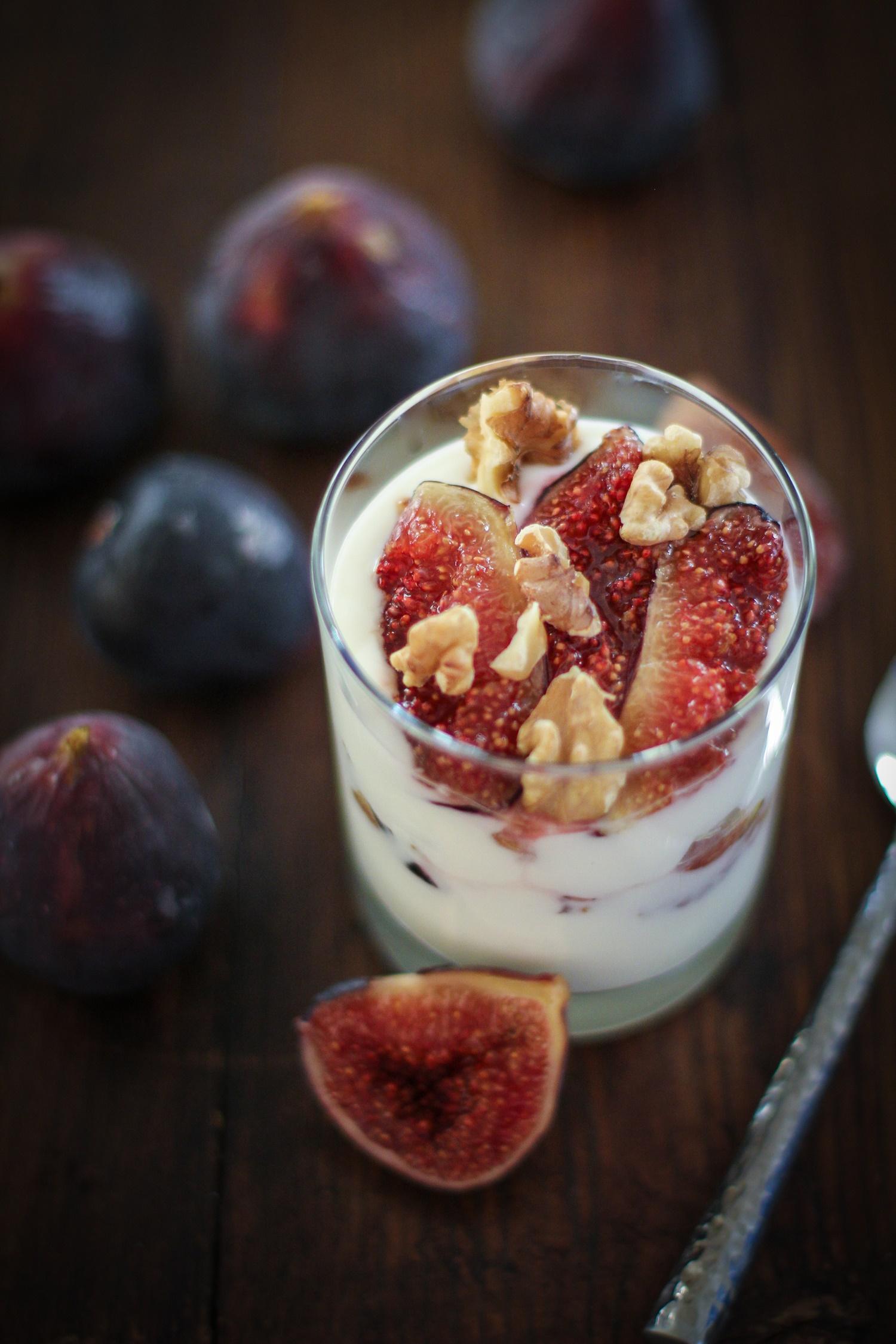 Roasted Fig and Walnut Yogurt Breakfast Parfait with honey | TheRoastedRoot.net #healthy #recipe #glutenfree