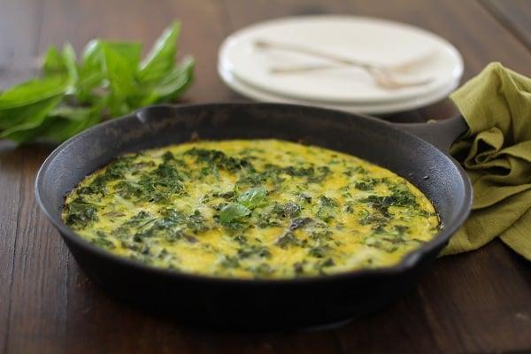 Zucchini Basil and Kale Frittata | https://www.theroastedroot.net