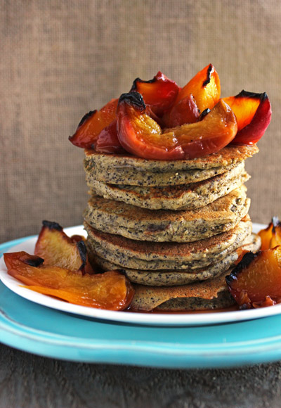 Almond Buckwheat Pancakes with Honey Roasted Peaches from Food Faith Fitness