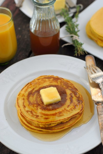 Boulder Locavore - Pumpkin Ricotta Pancakes with Ginger Thyme Syrup