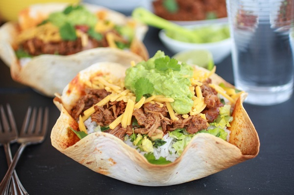 Crockpot Carnitas Tortilla Burrito Bowl from Halfbaked Harvest
