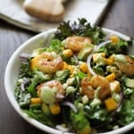 Curry Shrimp Chopped Salad with Creamy Avocado Dressing | https://www.theroastedroot.net