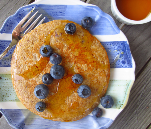 Flourless Blender Pancakes with Blueberries from Gluten Free Blondie