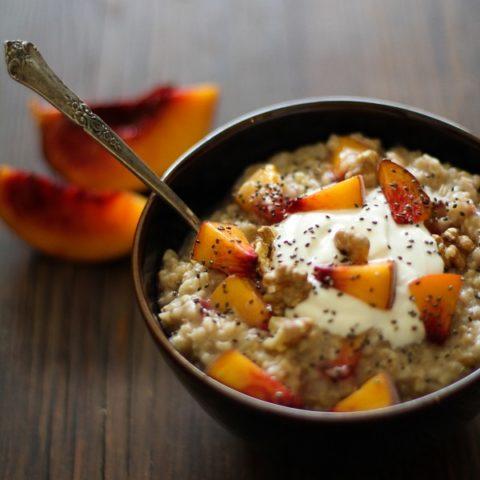 Maple Walnut Steel Cut Oatmeal with Yogurt, Peaches and Chia Seeds | https://www.theroastedroot.net