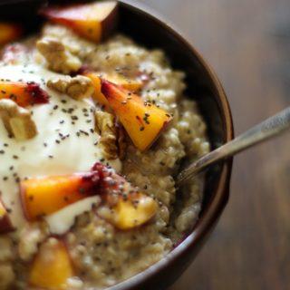 "Peaches n ""Cream"" Steel Cut Oatmeal with Chia Seeds"
