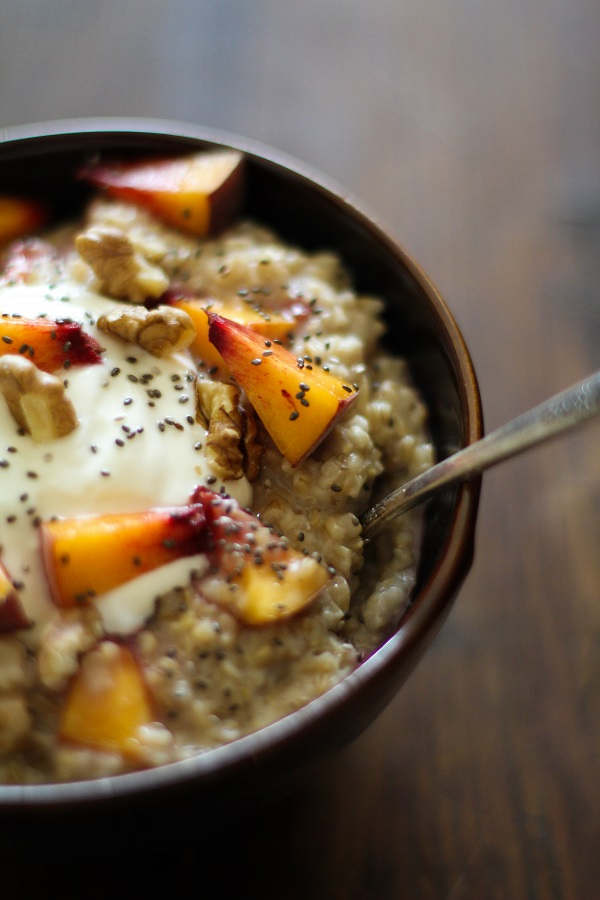 Maple Walnut Steel Cut Oatmeal with Yogurt, Peaches, and Chia Seeds | https://www.theroastedroot.net