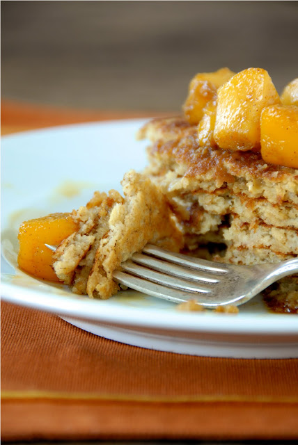 Oatmeal Pancakes with Warm Peach Compote from Kumquot
