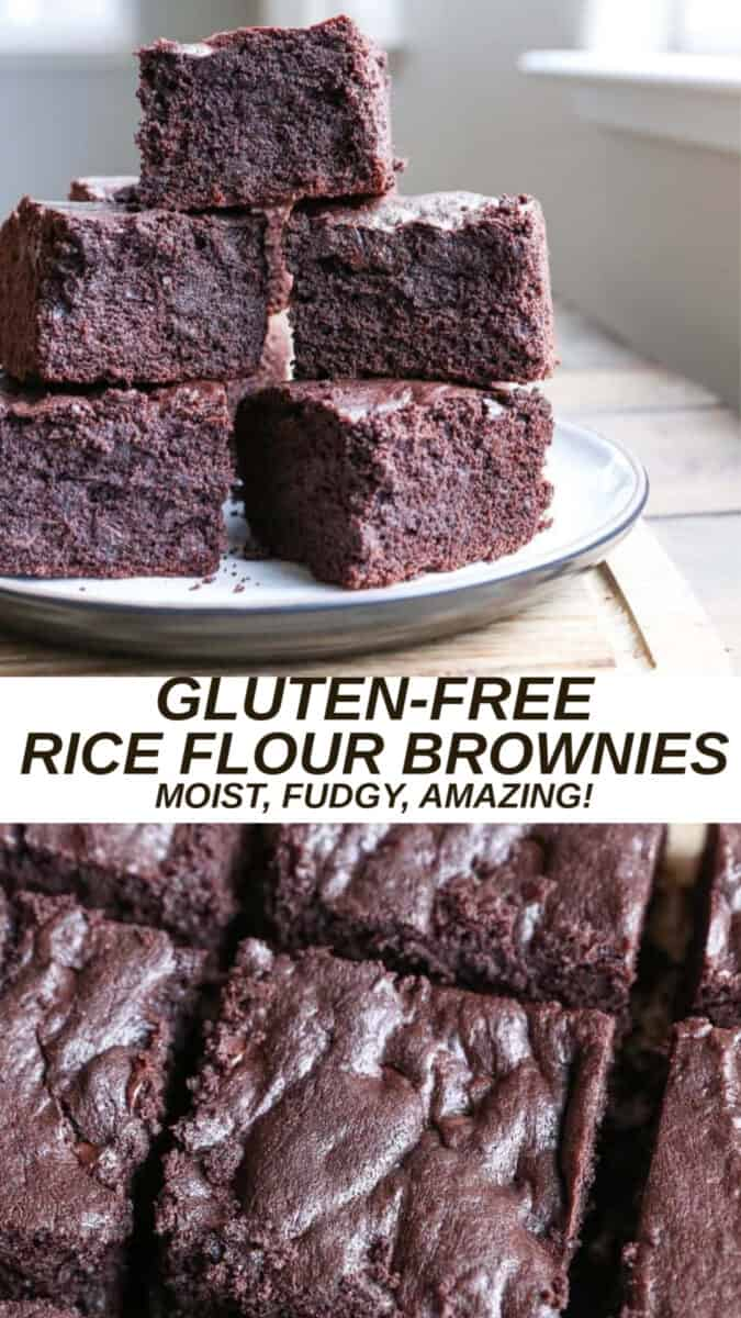 Gluten-Free Rice Flour Brownies sweetened with pure maple syrup. A delicious fudge brownie recipe