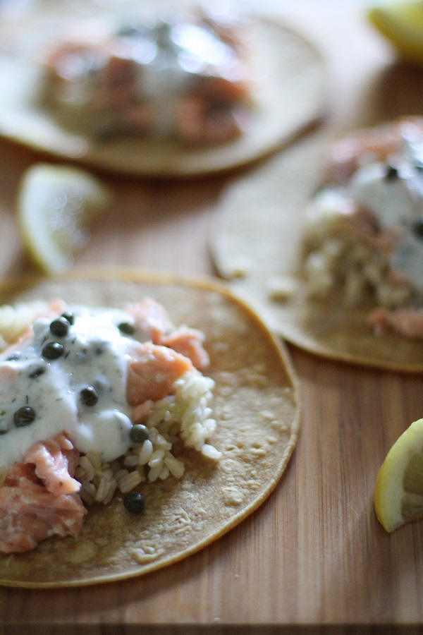 Salmon Tacos with Caper-Dill Yogurt Sauce