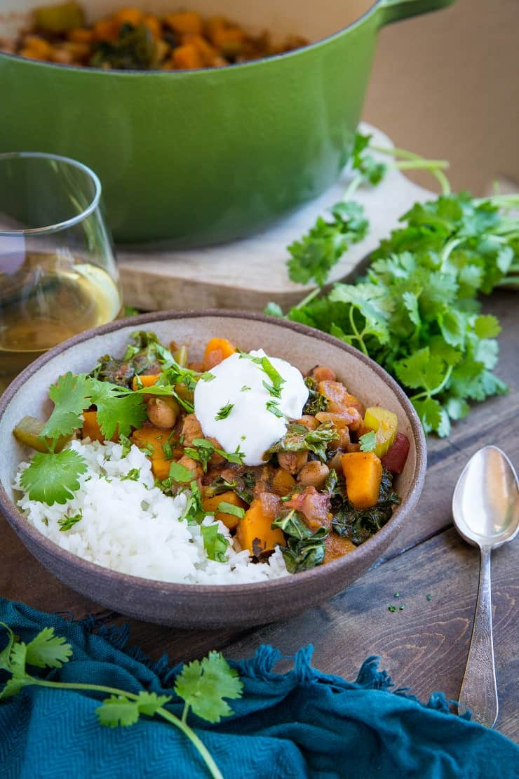 Butternut Squash and Chickpea Chili with Kale - an easy vegan one-pot meal