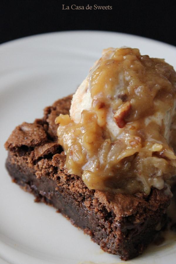 Gluten Free German Chocolate Brownie Sundaes | https://www.theroastedroot.net