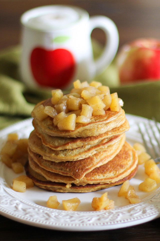 Grain-Free Apple Cinnamon Pancakes | theroastedroot.net refined sugar-free, made with coconut flour and sweetened with pure maple syrup #glutenfree #paleo #sugarfree #healthy #breakfast #brunch