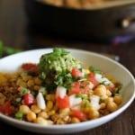 Cauliflower Rice Burrito Bowls with pico de gallo and guacamole - - - > https://www.theroastedroot.net