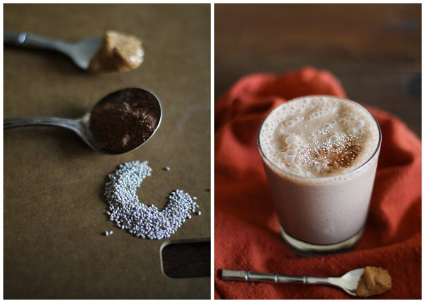 Chocolate Peanut Butter Chia Seed Smoothie | https://www.theroastedroot.net