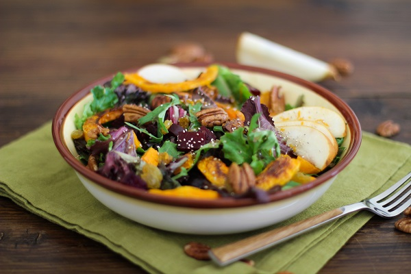 Roasted Fall Vegetables Salad with Maple Orange Cinnamon Dressing - - - > www.theroastedroot.net