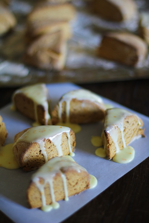 Gluten Free Sweet Potato Scones with Zesty Orange Glaze - - - > www.theroastedroot.net