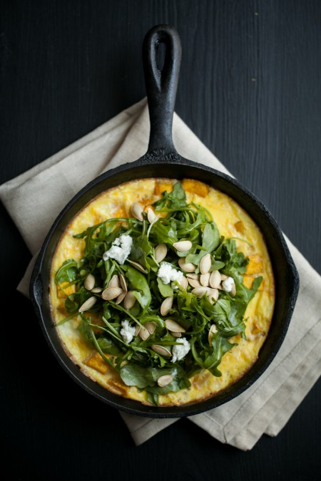 Roasted Pumpkin and Goat Cheese Frittata with Arugula Salad from Naturally Ella