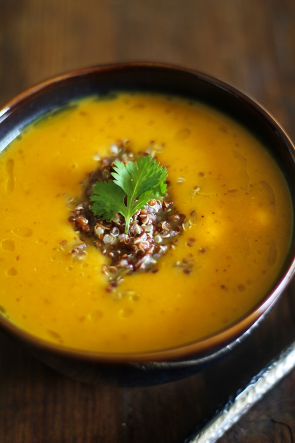 Roasted Sweet Potato Soup with Quinoa - - - > www.theroastedroot.net
