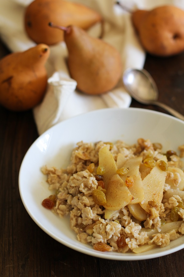 Caramelized Pear Oatmeal with golden raisins and walnuts - - - > www.theroastedroot.net
