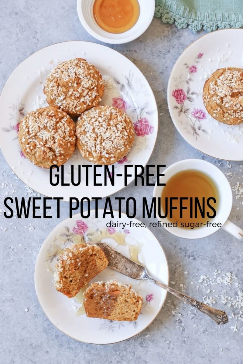 Gluten-Free Sweet Potato Muffins made dairy-free and refined sugar-free with coconut flour, rice flour, and pure maple syrup. Light, fluffy, and flavorful!