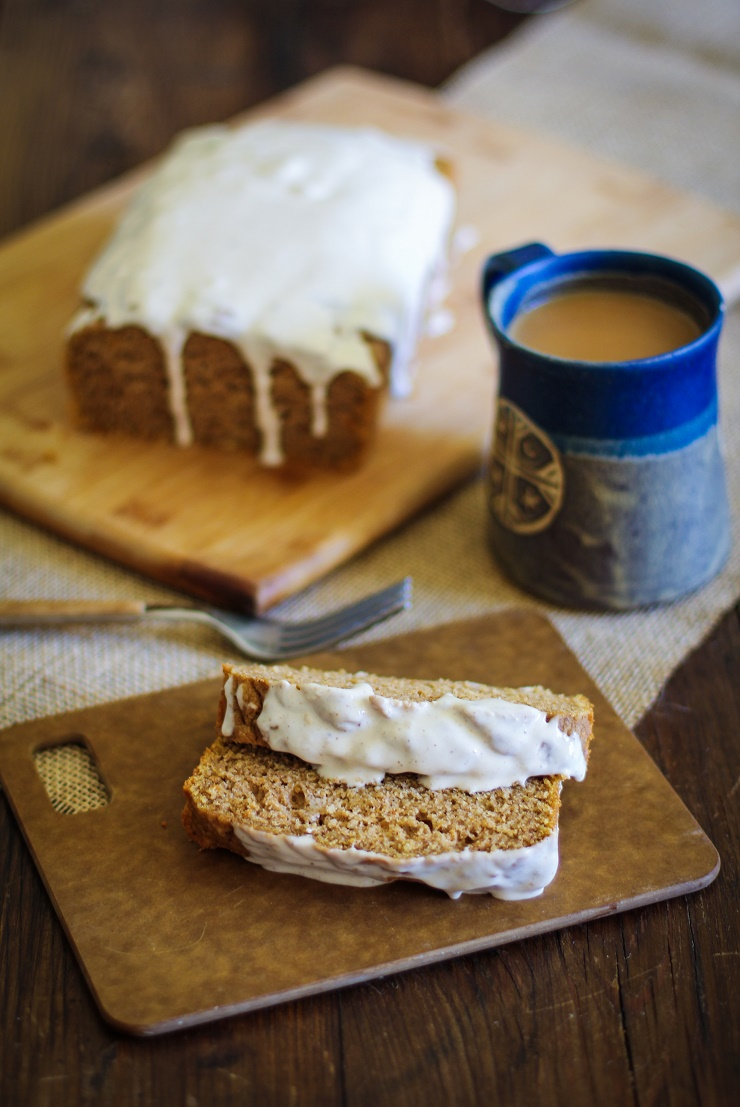 Gluten-free Pumpkin Bread with Chai Glaze - naturally sweetened, gluten-free, and healthy | TheRoastedRoot.net #holiday #pumpkin #quickbread